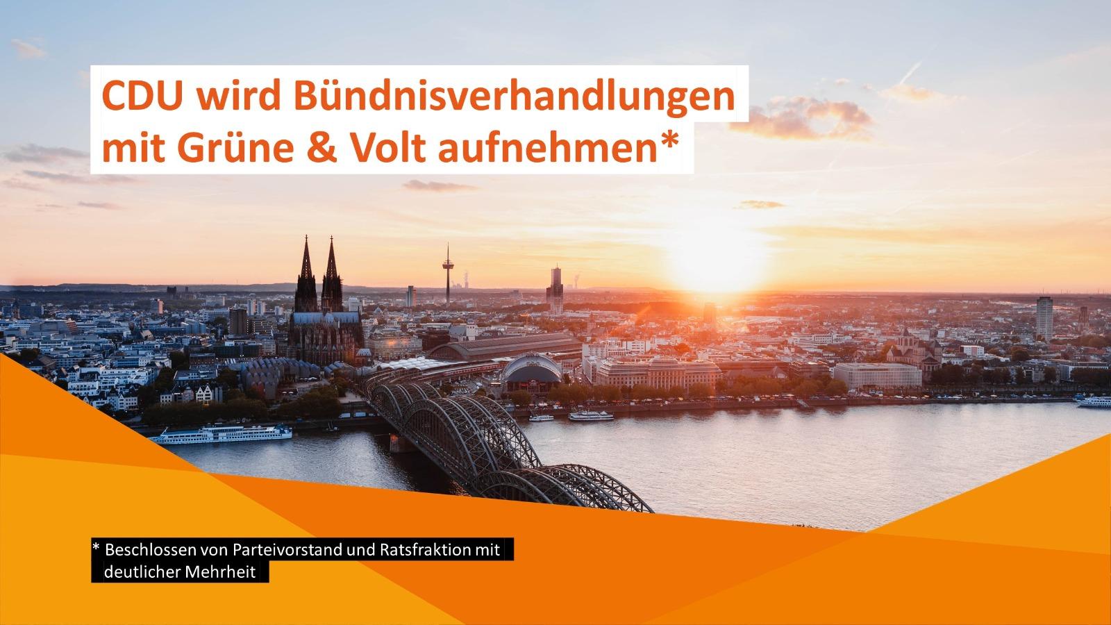 CDU Köln wird Bündnisverhandlungenmit Grüne und Volt aufnehmen